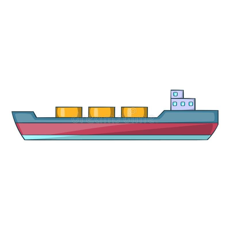 O navio leva o ícone da carga, estilo dos desenhos animados ilustração do vetor