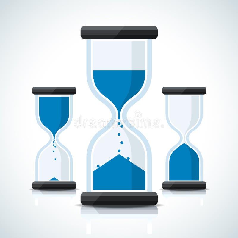 O negócio azul denominou ícones do pulso de disparo da areia ilustração do vetor