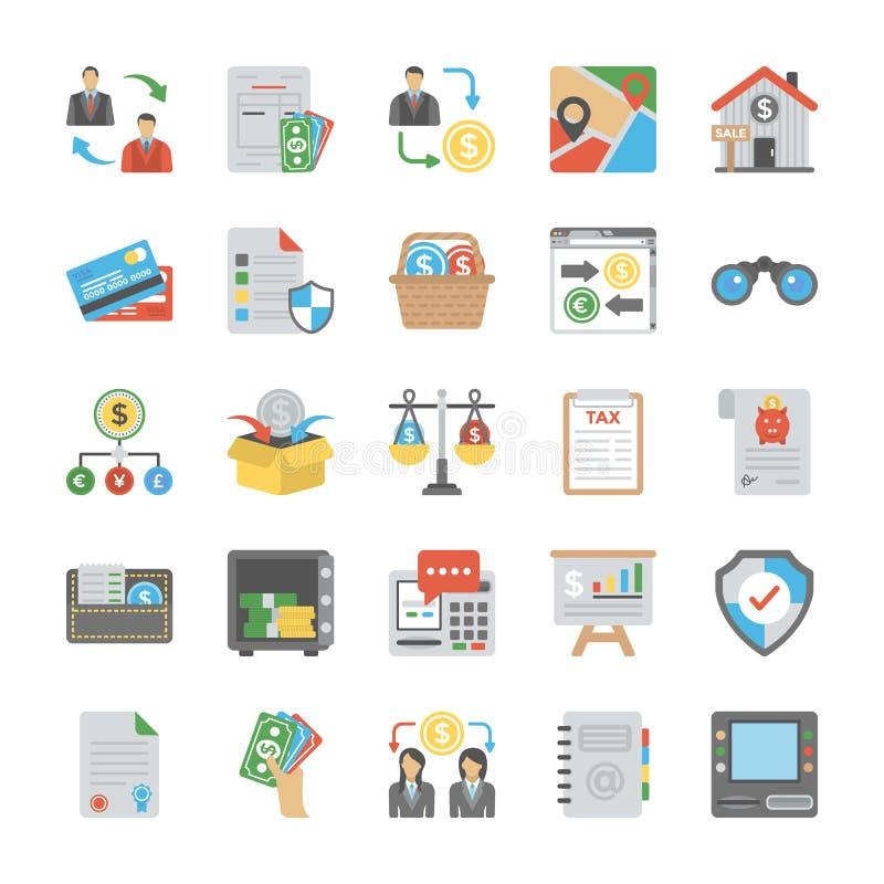 O negócio coloriu ícones do vetor ajustados ilustração royalty free