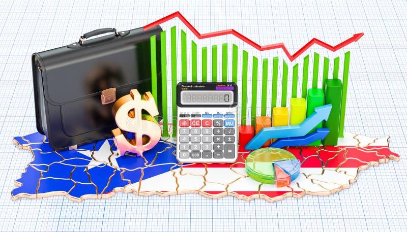 O negócio, o comércio e a finança no conceito de Porto Rico, 3D rendem ilustração stock