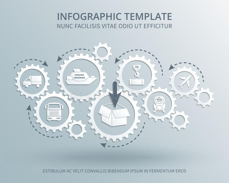 O negócio da entrega e da distribuição vector o conceito com ícones do mecanismo de engrenagens, do transporte, da embalagem e do ilustração royalty free