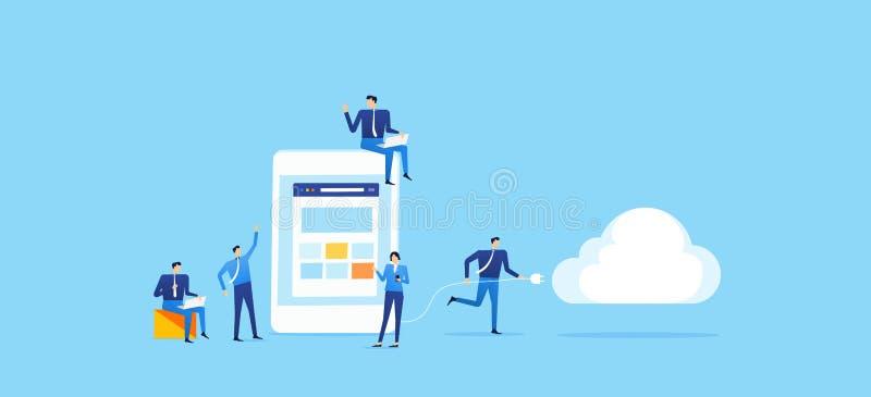 O negócio da equipe desenvolve a aplicação no móbil e conecta-a à nuvem ilustração royalty free