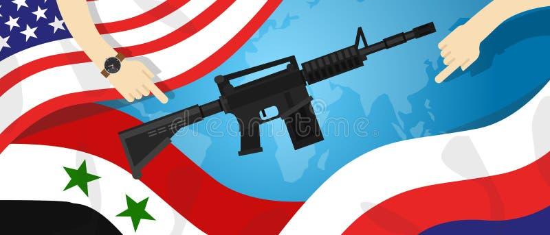 O negócio de dinheiro internacional da disputa do mundo do conflito dos braços da guerra de proxy de Síria América Rússia EUA ent ilustração royalty free