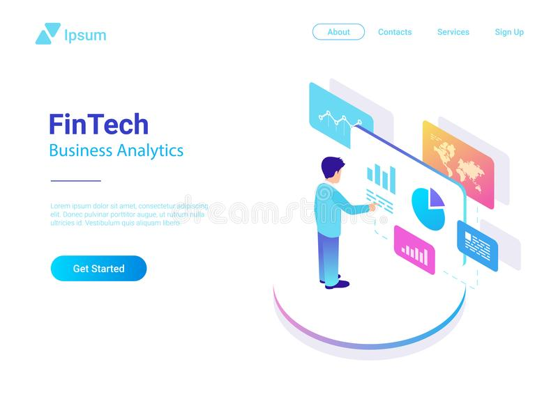 O negócio do homem analisa isométrico virtual do mercado dos dados ilustração stock