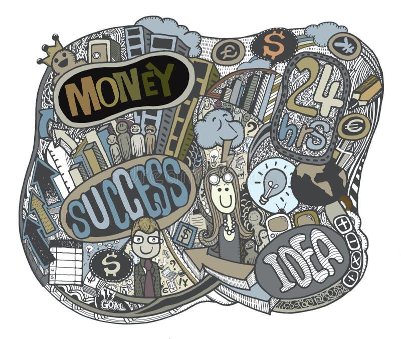 O negócio do moderno rabisca o fundo, tirando o estilo ilustração stock