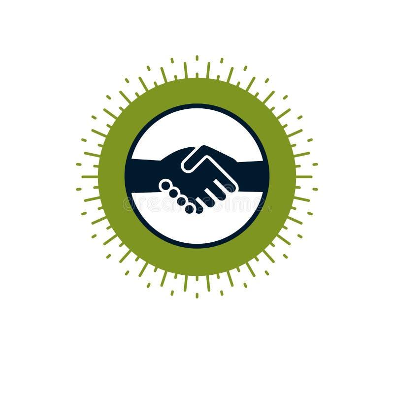 O negócio e a amizade de negócio das mãos do aperto de mão dois assinam, vector o CI ilustração stock