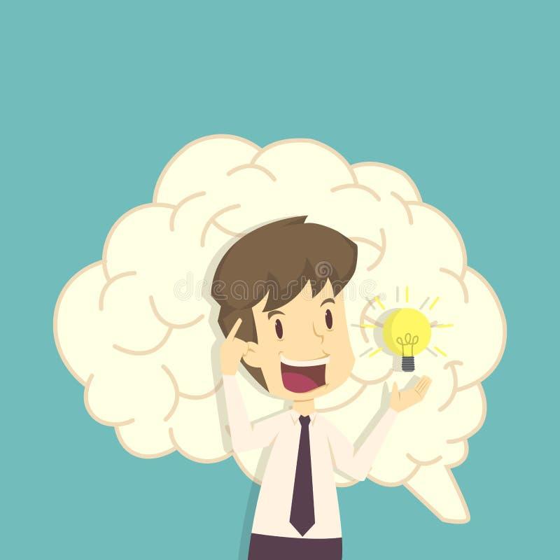 O negócio e o bulbo, pensam e inspiração desenhos animados do negócio, emp ilustração royalty free
