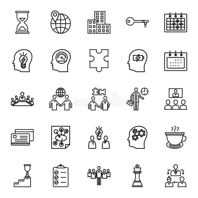 O negócio e a gestão isolaram os ícones do vetor ajustados que podem ser facilmente editam ou alteram ilustração stock
