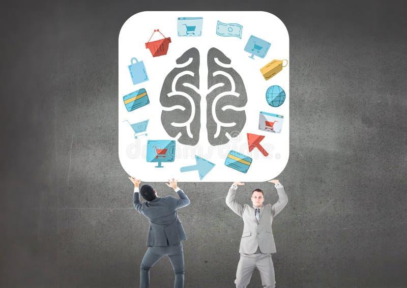 O negócio equipa levar o cérebro com o gráfico sobre purchasings e vendas ilustração royalty free