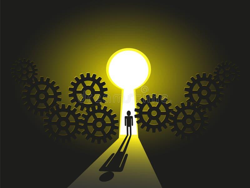 O negócio equipa a viagem para o sucesso, solução seu futuro da carreira ilustração royalty free