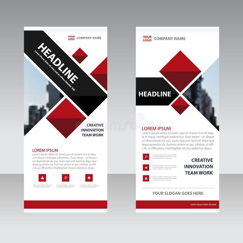 O negócio preto vermelho rola acima o molde liso do projeto da bandeira, abstrato ilustração stock