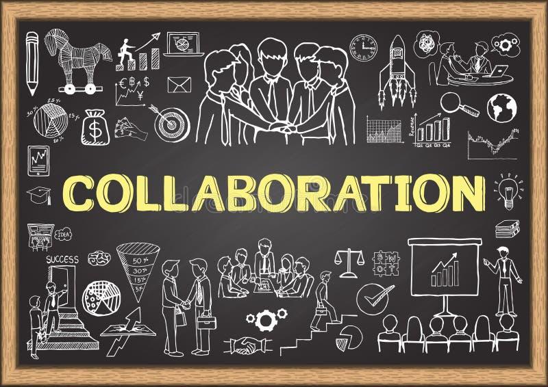 O negócio rabisca no quadro com o conceito da colaboração ilustração stock