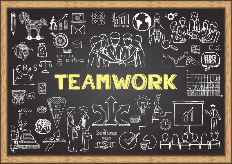 O negócio rabisca no quadro com o conceito dos trabalhos de equipa ilustração do vetor