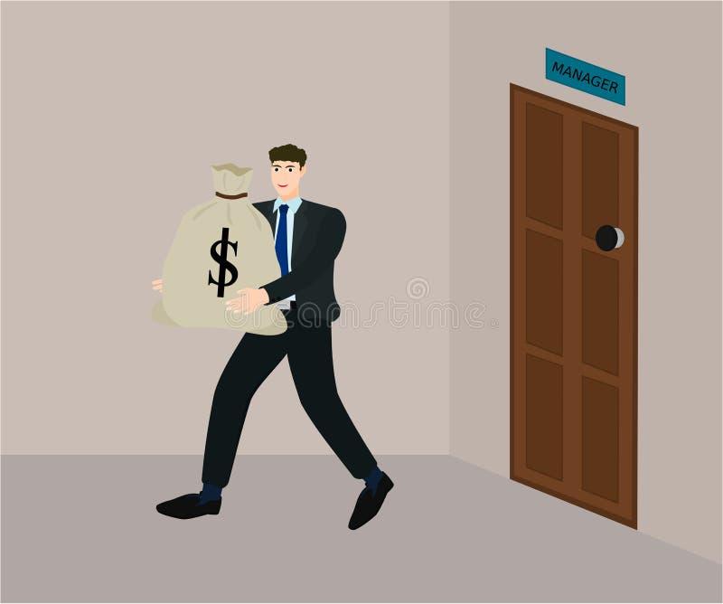 O negócio recebe o salário como o saco grande do dinheiro ilustração royalty free