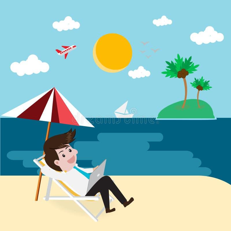 O negócio relaxa na praia com tabuleta ilustração stock