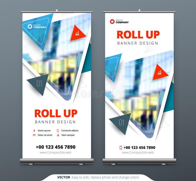 O negócio rola acima o suporte da bandeira Conceito da apresentação Modernos abstratos rolam acima o fundo Vertical role acima o  ilustração royalty free