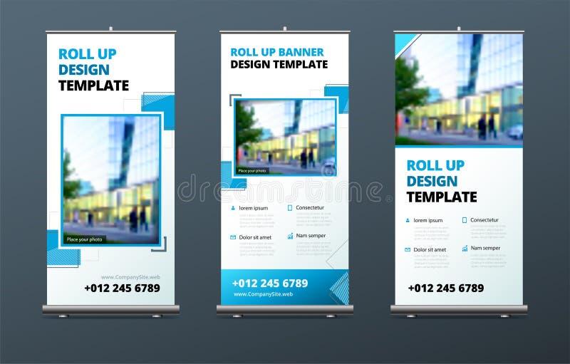 O negócio rola acima o suporte da bandeira Conceito da apresentação Modernos abstratos rolam acima o fundo Vertical role acima o  ilustração stock