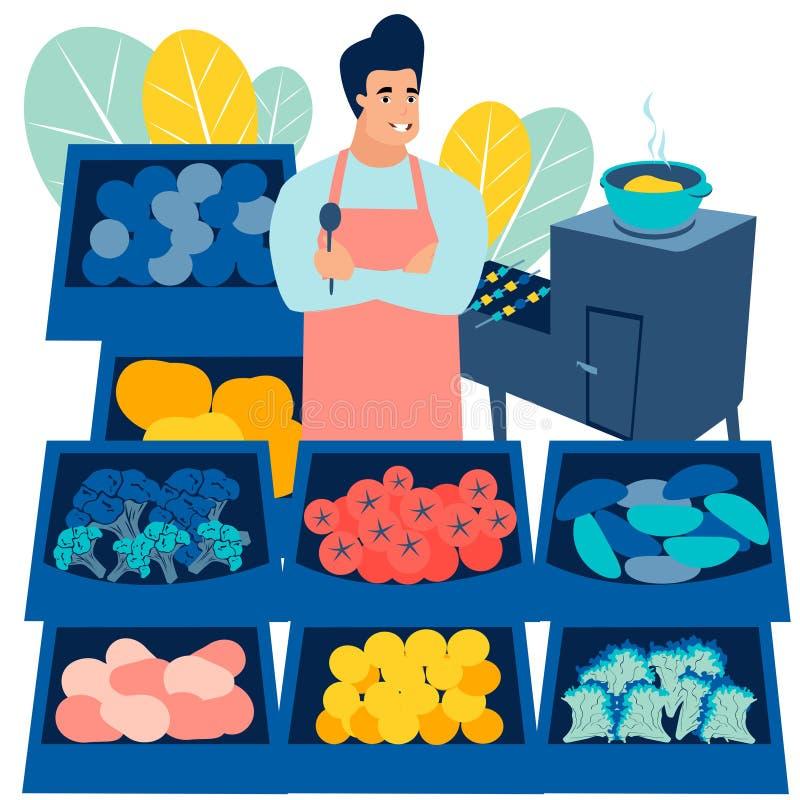 O negócio, um homem vende frutas e legumes r Vetor dos desenhos animados ilustração stock