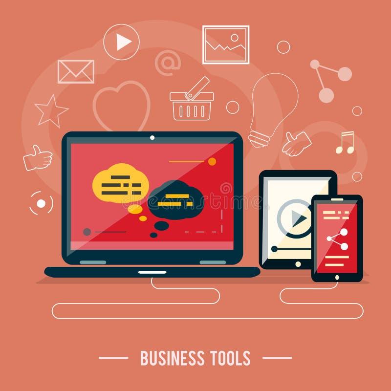 O negócio utiliza ferramentas o conceito ilustração do vetor