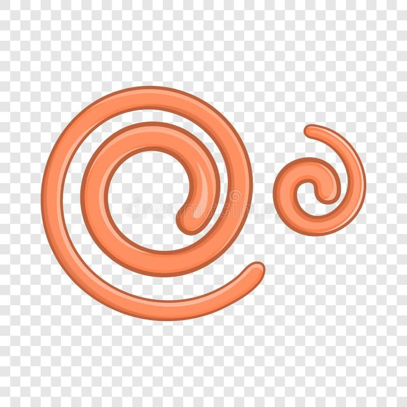 O nemátodo parasítico worms o ícone, estilo dos desenhos animados ilustração royalty free