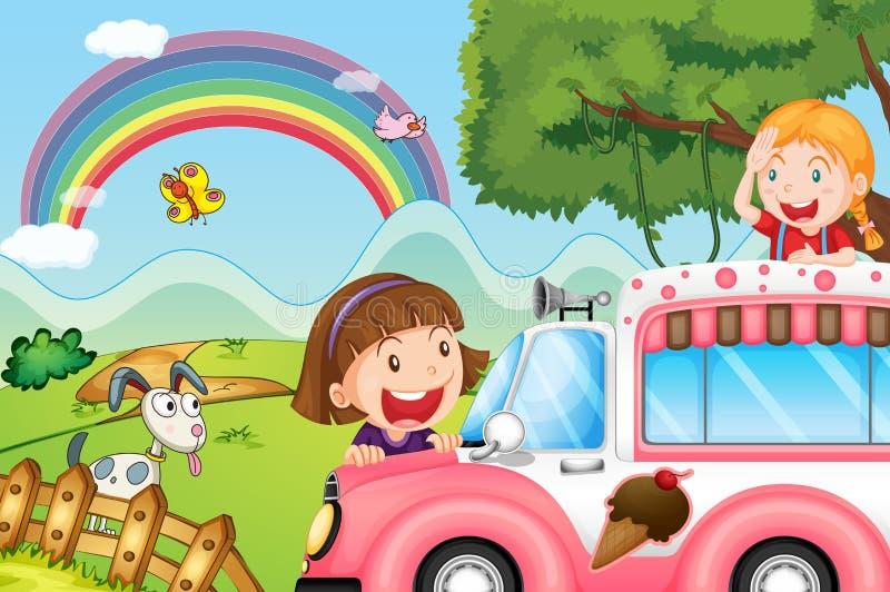 O ônibus cor-de-rosa do gelado e as duas meninas felizes ilustração do vetor