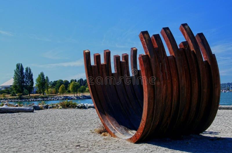 Ośniedziała ziobro zmierzchu plaża Vancouver BC fotografia royalty free