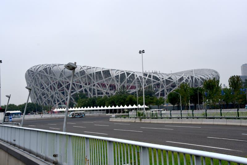 O ninho do pássaro, estádio nacional, Pequim, China imagens de stock royalty free