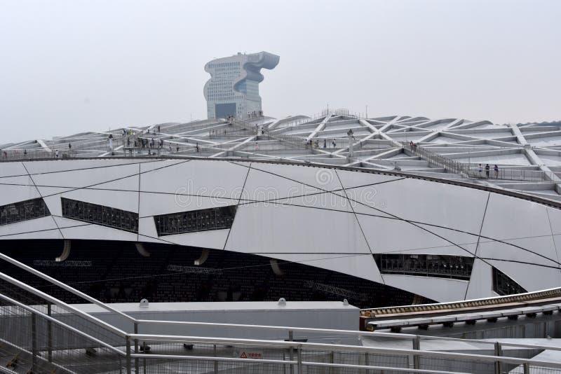 O ninho do pássaro, estádio nacional, Pequim, China imagens de stock