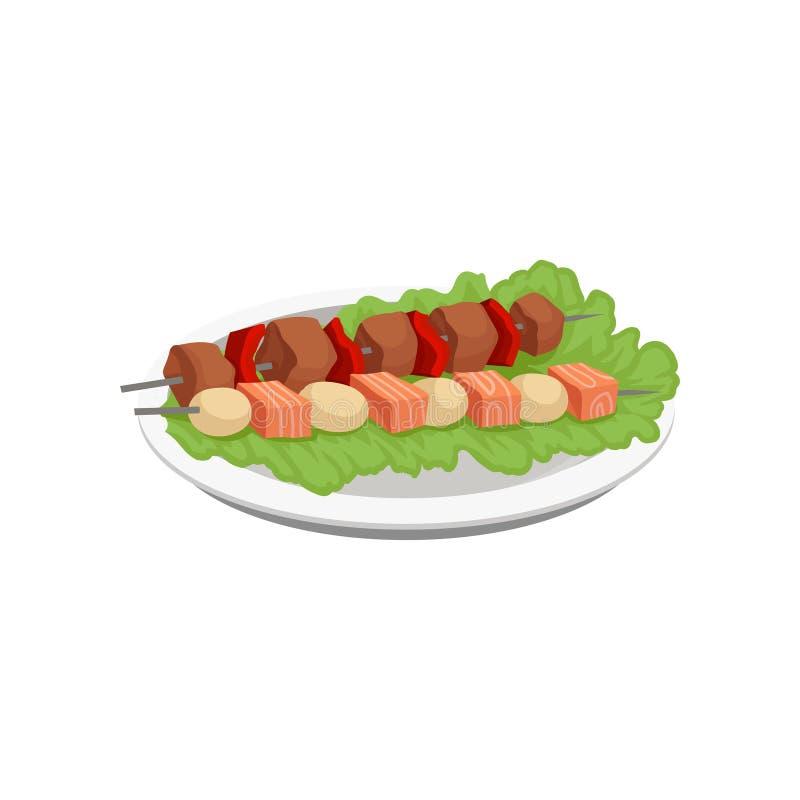 O no espeto da carne e dos salmões, alimento grelhado no espetos serviu em uma ilustração do vetor da placa em um fundo branco ilustração stock