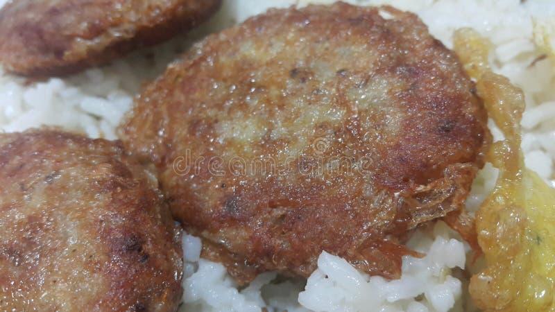O no espeto redondo fritado picante delicioso serviu com arroz branco imagens de stock