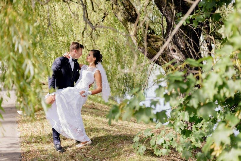 O noivo está indo beijar a noiva imagem de stock