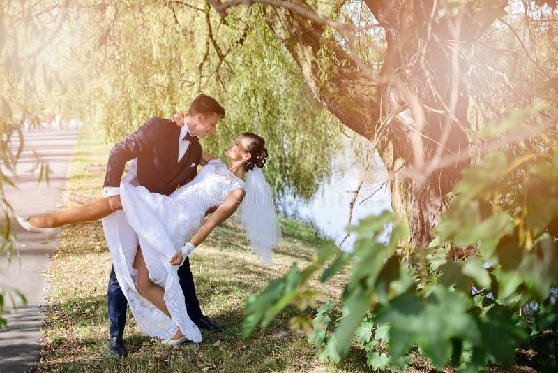O noivo está indo beijar a noiva imagem de stock royalty free