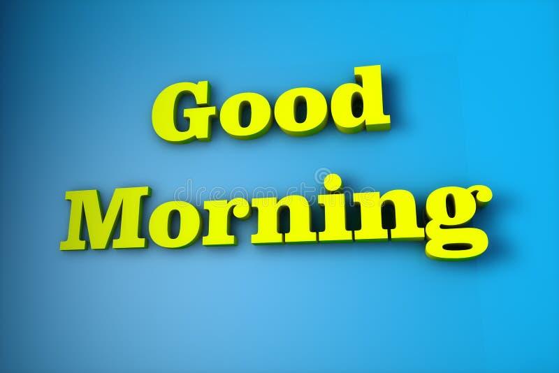 O nome 'bom dia 'escrito em 3d ilustração royalty free