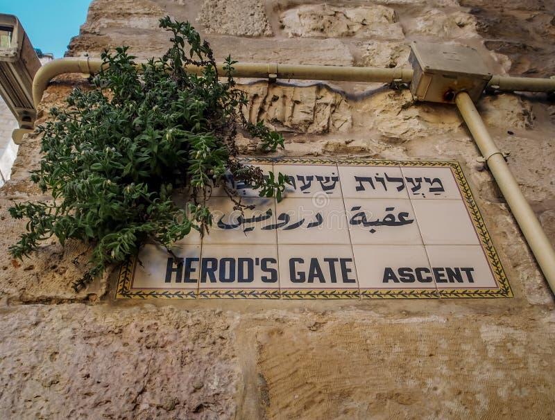 O nome da subida da porta de Herod assina dentro o Jerusalém, Israel foto de stock royalty free