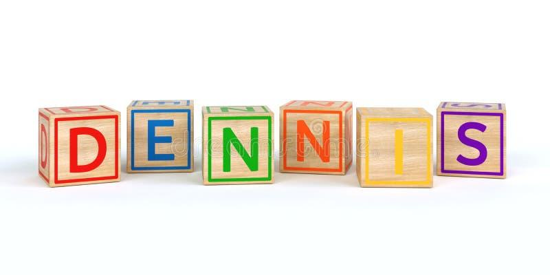 O nome dennis escrito com os cubos de madeira isolados do brinquedo ilustração stock