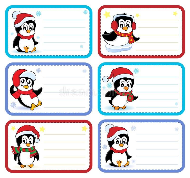 O nome do Natal etiqueta a coleção 3 ilustração stock