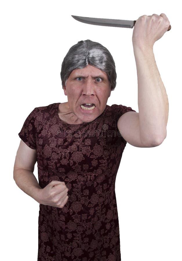 O normando reduz o homem louco de Halloween Pyscho fotos de stock