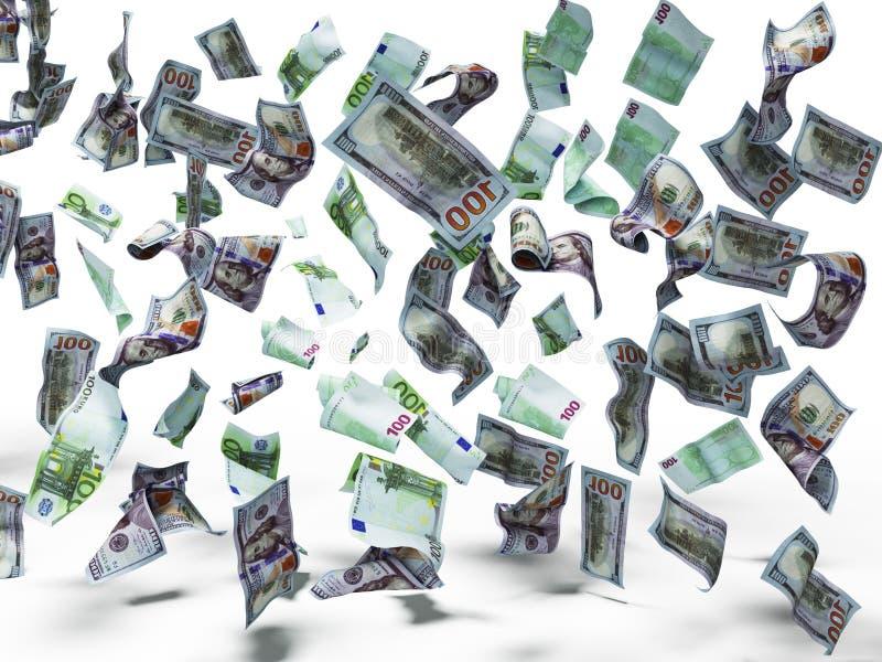 O novo cem dólares e cem cédulas do euro cai no assoalho 3d para render no fundo branco com sombra ilustração stock