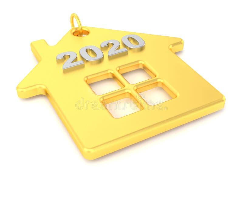 2020 A?o Nuevo Casa de oro de la baratija aislada en el fondo blanco Casas de las propiedades inmobiliarias?, planos para la vent ilustración del vector