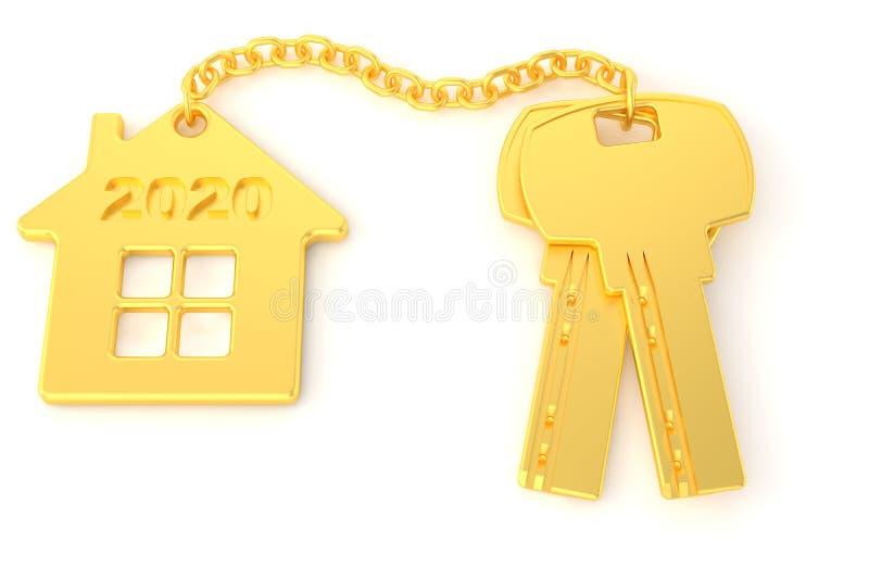 2020 A?o Nuevo Llaves de oro de la casa con la casa de oro de la baratija aislada en el fondo blanco Casas de las propiedades inm ilustración del vector