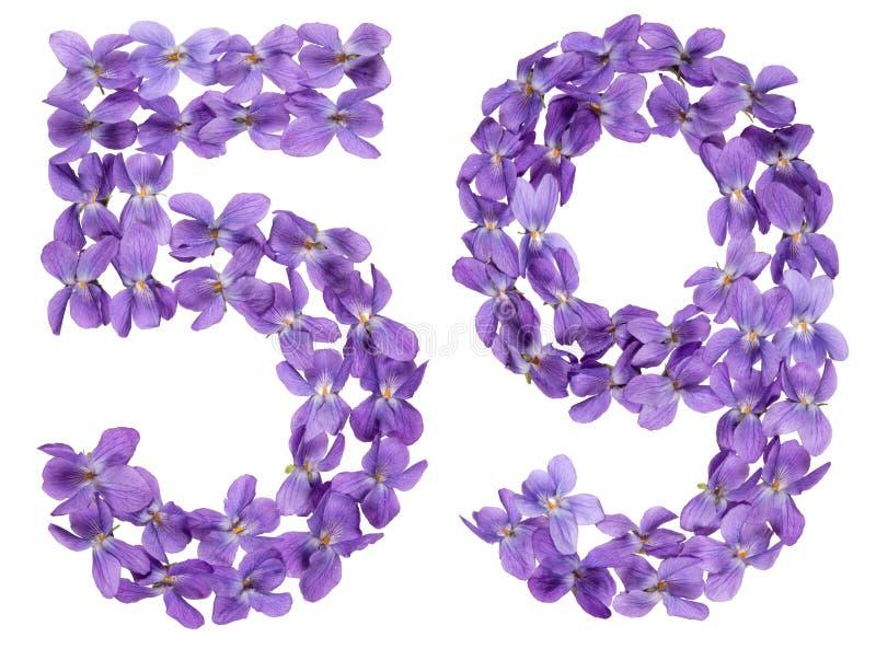 O numeral árabe 59, cinquenta e nove, das flores da viola, isolou o fotos de stock