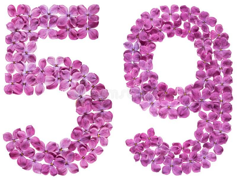 O numeral árabe 59, cinquenta e nove, das flores do lilás, isolou o fotos de stock royalty free