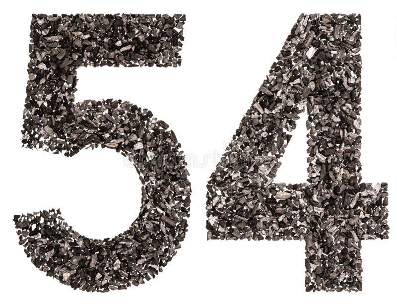 O numeral árabe 54, cinquenta e quatro, do preto um carvão vegetal natural, é imagens de stock