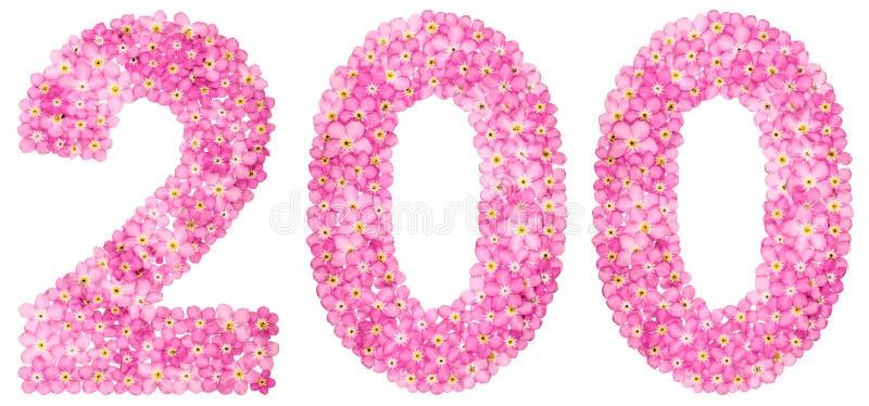 O numeral árabe 200, dois cem, do miosótis cor-de-rosa floresce imagem de stock royalty free