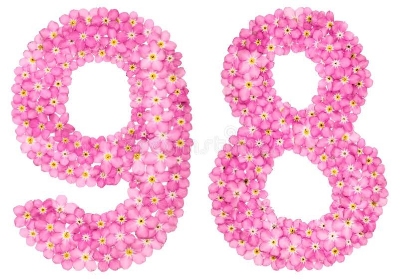 O numeral árabe 98, eigh noventa, do miosótis cor-de-rosa floresce, imagem de stock
