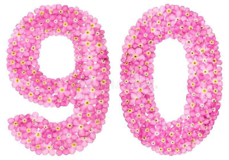 O numeral árabe 90, noventa, do miosótis cor-de-rosa floresce, isolador imagens de stock