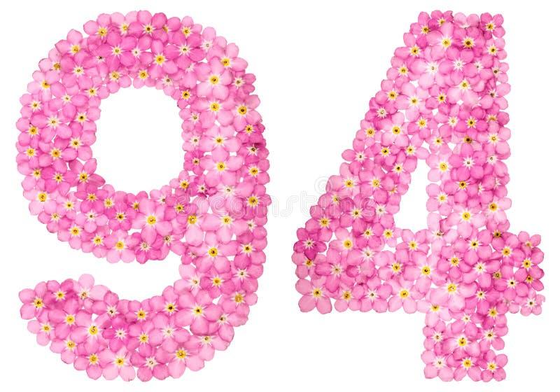 O numeral árabe 94, noventa quatro, do miosótis cor-de-rosa floresce, imagem de stock