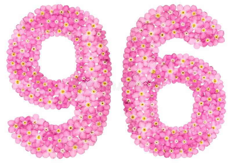 O numeral árabe 96, noventa seis, do miosótis cor-de-rosa floresce, fotografia de stock royalty free
