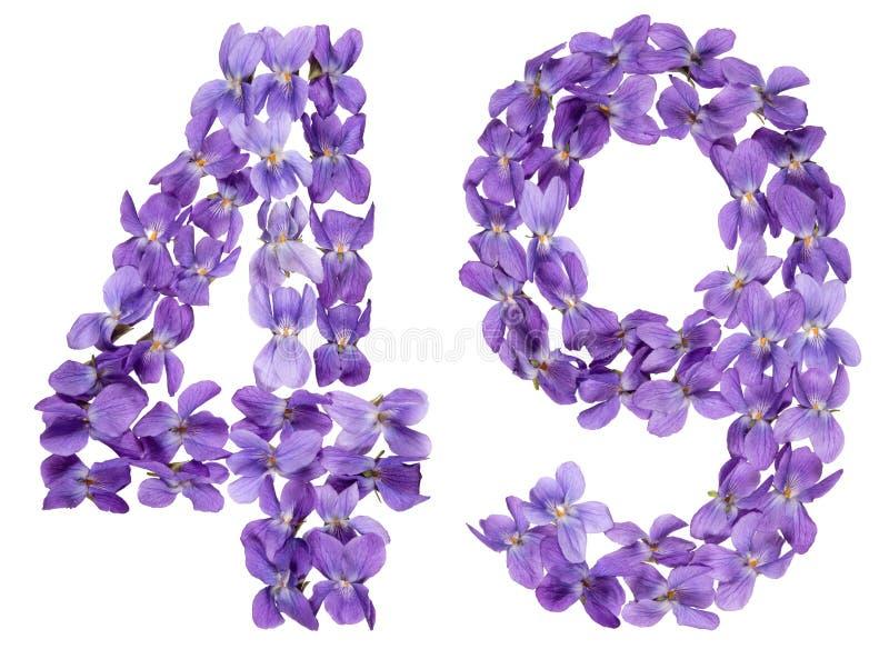 O numeral árabe 49, quarenta e nove, das flores da viola, isolou o imagem de stock