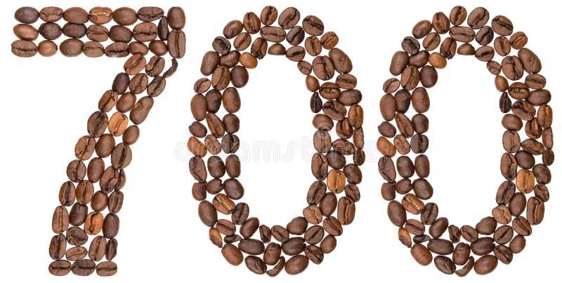 O numeral árabe 700, sete cem, dos feijões de café, isolou o foto de stock royalty free